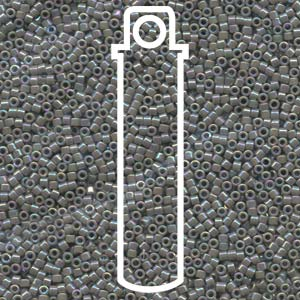 DB168-TB - 11/0 Delica Beads Opaque Gray AB | 7.2g Tube