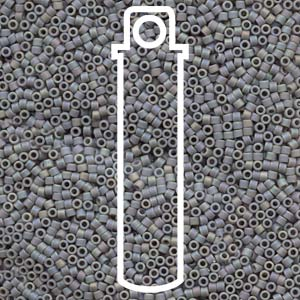 DB882-TB - 11/0 Delica Beads Matte Opaque Light Gray AB | Aprx 6.5g Tube