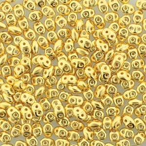 DU05-GP - Czech Glass SuperDuo Beads 2.5 x 5mm 24 Karat Gold Plate | 25 Grams
