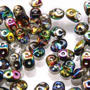 DU0500030-28101 - Czech Glass SuperDuo Beads, Crystal Vitrail | 25 Grams