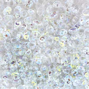 DU0500030-28701 - Czech Glass SuperDuo Beads, Crystal AB | 25 Grams