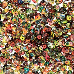 DU0500030-95600 - Czech Glass SuperDuo Beads, Crystal Red-Yellow | 25 Grams