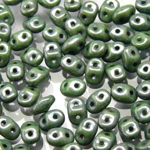 DU0503000-14459 - Czech Glass SuperDuo Beads, Chalk Green Luster | 25 Grams