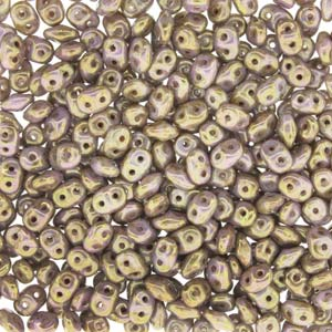 DU0503000-15695 - Czech Glass SuperDuo Beads, Chalk Senegal Brown-Prpl | 25 Grams