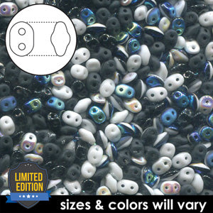 DU0503099-VP - Czech Glass SuperDuo Beads 2.5 x 5mm Black/White Value Pack | 25 Grams