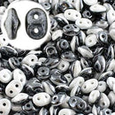 DU0503849-14400 - Czech Glass SuperDuo Beads 2.5 x 5mm Duets Black/White Luster Opaque | 25 Grams