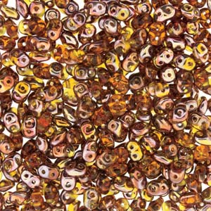 DU0510060-27101 - Czech Glass SuperDuo Beads 2.5 x 5mm Topaz Capri Gold | 25 Grams