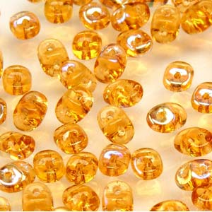 DU0510060-28701 - Czech Glass SuperDuo Beads, Topaz AB | 25 Grams