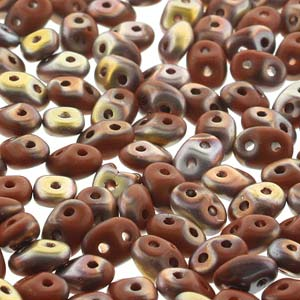 DU0513600-27171 - Czech Glass SuperDuo Beads, Opaque Chocolate Capri Gold Matte | 25 Grams