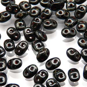 DU0523980-86805 - Czech Glass SuperDuo Beads, Jet Dark Travertine | 25 Grams