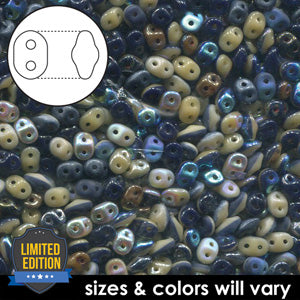 DU0533499-VP - Czech Glass SuperDuo Beads 2.5 x 5mm Navy Mix Value Pack | 25 Grams