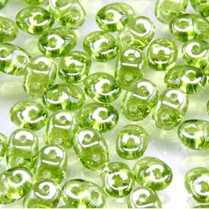 DU0550230-14400 - Czech Glass SuperDuo Beads, Olivine White Luster | 50 Grams