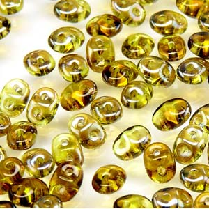 DU0550230-22501 - Czech Glass SuperDuo Beads 2.5 x 5mm Olivine Celsian  | 25 Grams