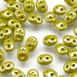 DU0553410-14400 - Czech Glass SuperDuo Beads, Opaque Green White Luster | 25 Grams