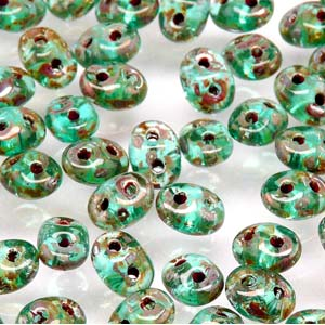 DU0560020-43400 - Czech Glass SuperDuo Beads, Aqua Picasso | 25 Grams