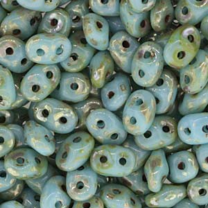DU0563030-43400 - Czech Glass SuperDuo Beads, Turquois Blue Picasso | 25 Grams