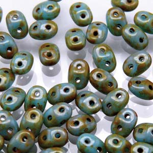 DU0563030-86805 - Czech Glass SuperDuo Beads, Turquoise Blue Dark Travertine | 25 Grams