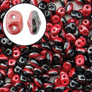 DU0593298-14400 - Czech Glass SuperDuo Beads 2.5 x 5mm Duet Red Black Luster | 25 Grams