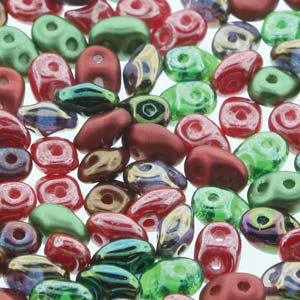 DU05MIX120 - Czech Glass SuperDuo Beads, Poppy Fields | 25 Grams