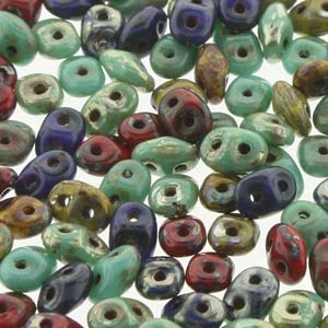 DU05MIX127 - Czech Glass SuperDuo Beads, Raku | 25 Grams