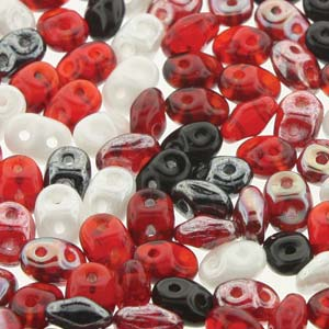 DU05MIX149 - Czech Glass SuperDuo Beads, Ladybug | 50 Grams