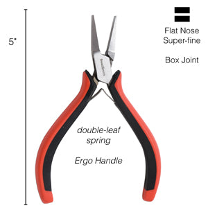ER656 - Super Fine Ergo Flat Nose Pliers Red/Black| Pkg 1