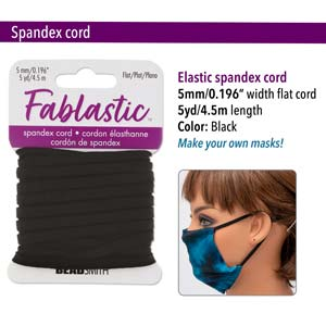 FET0505BK - Fablastic Stretch Cord, 5mm, Black | Pkg 5 Yards