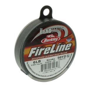 FL06SG50 - 6 Lb Fireline Beading Thread, Smoke Grey .006 In/.15mm Dia 50 Yrd | Pkg 1