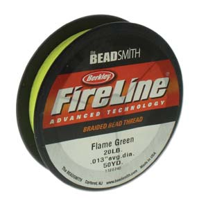 FL20FG50 - 20 Lb Fireline Beading Thread, Flame Green .012 In/.30mm Dia 50 Yrd | Pkg 1