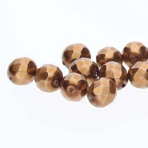 FPR04-10146 - 4mm Round Fire Polish Glass Pearls Antique Gold 100 Beads/Strand | 1 Strand
