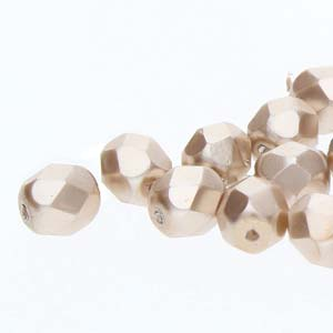 FPR06-70416 - 6mm Fire Polish Round Pearls Champaign 75 Beads/Strand | 1 Strand