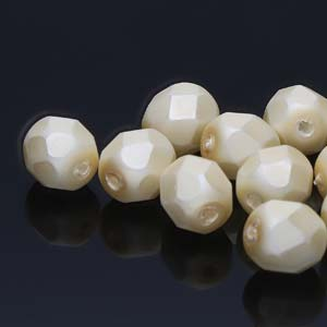 FPR06-70440M - 6mm Fire Polish Round Pearls Cream Mt 75 Beads/Strand | 1 Strand
