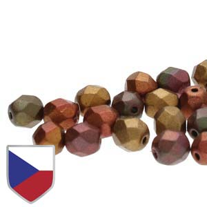 6-FPR0600030-01640CS - Fire Polish Beads With Czech Shield, Violet Rainbow, 6mm | 1 Strand