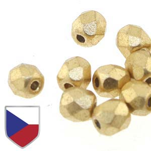 6-FPR0400030-01710CS - Fire Polish Beads With Czech Shield, 4mm, Crystal Bronze Pale Gold | 1 Strand