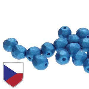 6-FPR0402010-24009CS - Fire Polish Beads With Czech Shield, Pearl Shine Azuro, 4mm | 1 Strand