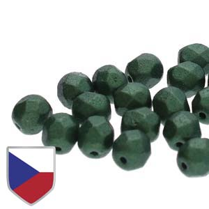 6-FPR0602010-24103CS - Fire Polish Beads With Czech Shield, Gold Shine Dark Olive Green | 1 Strand