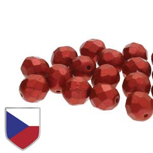 6-FPR0403000-01890CS - Fire Polish Beads With Czech Shield, Chalk Lava Red, 4mm | 1 Strand