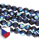 6-FPR0623980-28703CS - Fire Polish Beads With Czech Shield, Jet Full AB, 6mm | 1 Strand