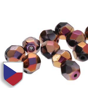 6-FPR0423980-29503CS - Fire Polish Beads With Czech Shield, Jet Full Sliperit, 4mm | 1 Strand