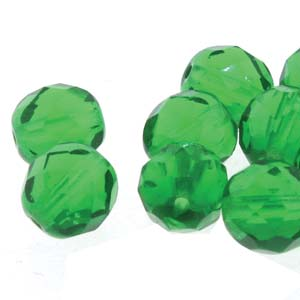 6-FPR065012 - Fire Polish 6mm Emerald, 50 Beads | 2 Strands