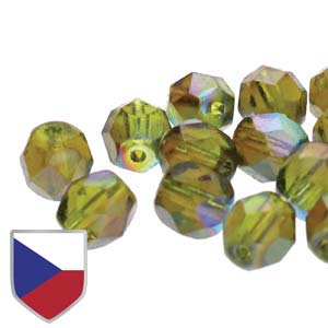 6-FPR0650230-98532CS - Fire Polish Beads With Czech Shield, Olivine Brown Rainbow, 6mm | 1 Strand.