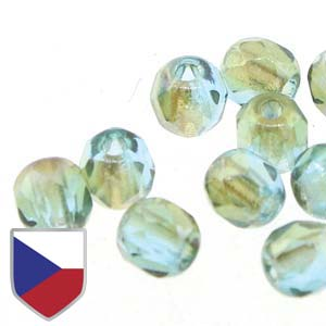 6-FPR0460020-22501CS - Fire Polish Beads With Czech Shield, Aqua Celsian, 4mm | 1 Strand