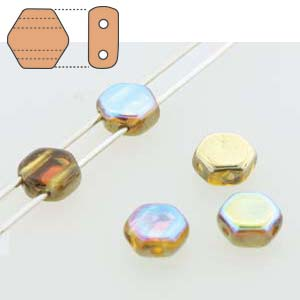 HC0610060-98536 - 6mm Honeycomb Beads, Topaz Gold Rainbow, 30 Beads | 1 Strand