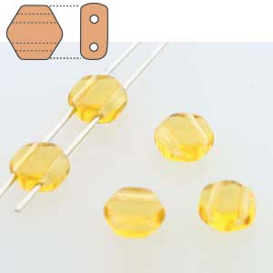 HC0610060 - 6mm Honeycomb Beads, Transparent Topaz, 30 Beads | 1 Strand