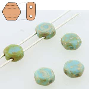 HC0663030-43400 - 6mm Honeycomb Beads, Blue Turquoise Picasso, 30 Beads | 1 Strand