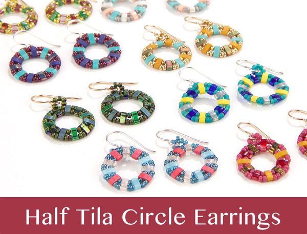 #PDF-483 - Half Tila Circle Earrings