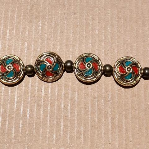 AB-1251 - Tibetan Style Coin Bead Strand | 10 Beads