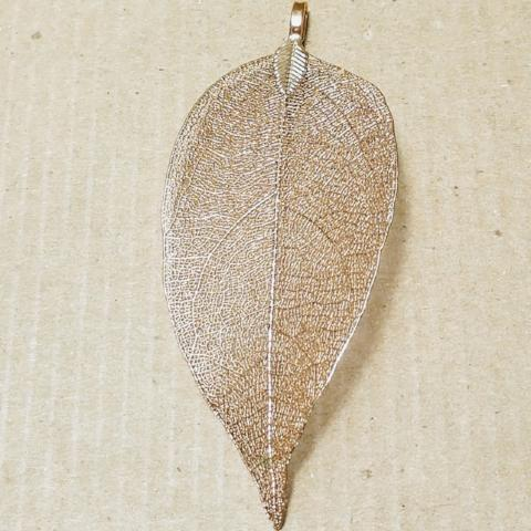 AB-2067 - Gold Plated Genuine Leaf Pendant,35x80mm | Pkg 1