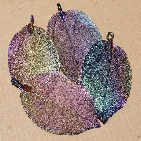 AB-2069 - Genuine Leaf Pendant, Metallic Rainbow,About 35x70mm | Pkg 1