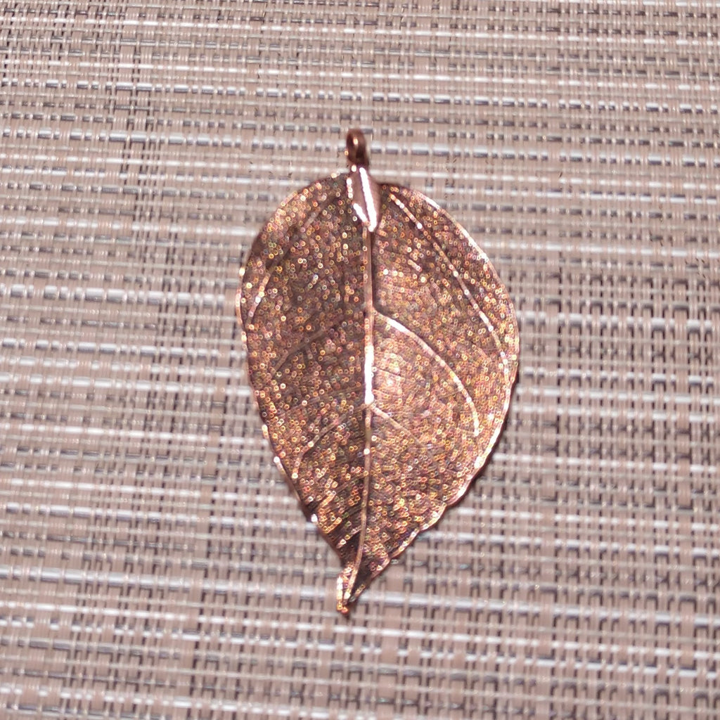 AB-2073 - Genuine Leaf Pendant, Antique Copper Finish, 35x80mm | Pkg 1
